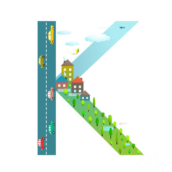 Cloud Type Wall Art - Digital Art - Letter K Of The Latin Alphabet Funny by Popmarleo