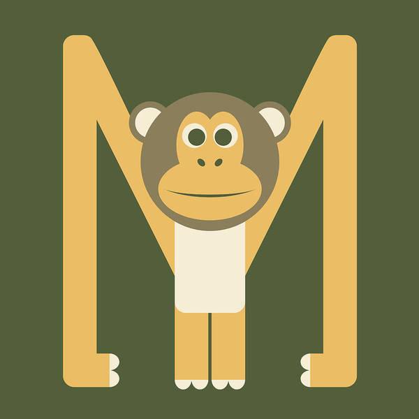 Digital Art - Letter M - Animal Alphabet - Monkey Monogram by Jen Montgomery