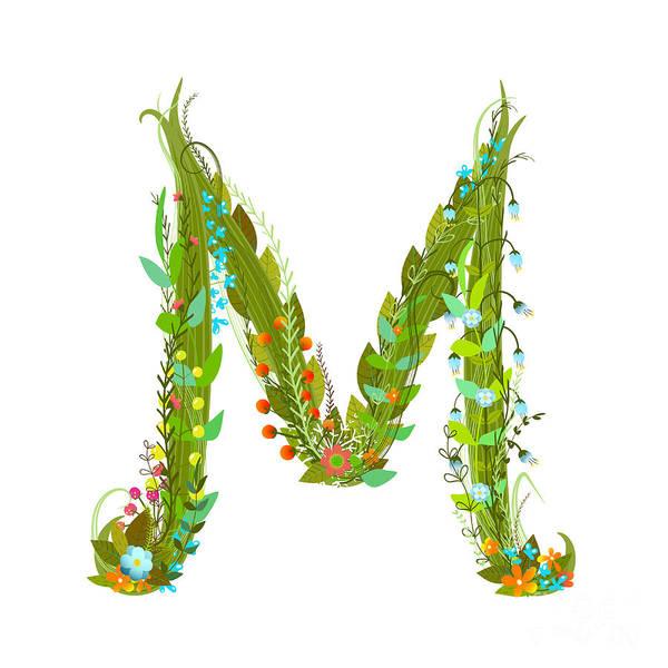Wall Art - Digital Art - Letter M Flower Calligraphy Floral by Popmarleo