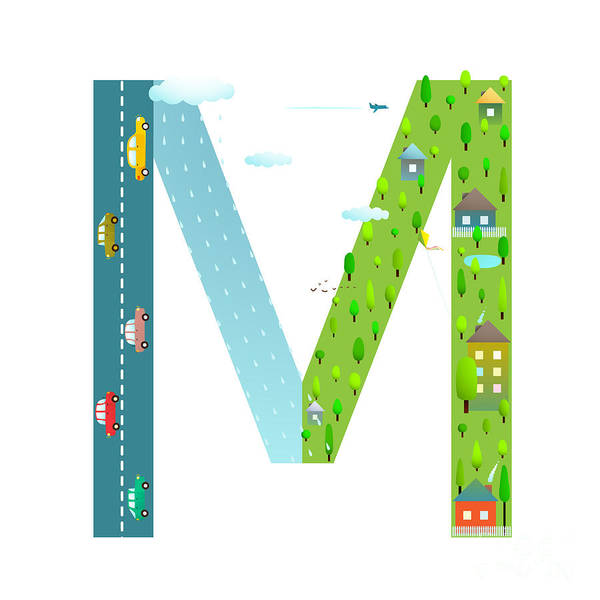 Cloud Type Wall Art - Digital Art - Letter M Of The Latin Alphabet Funny by Popmarleo