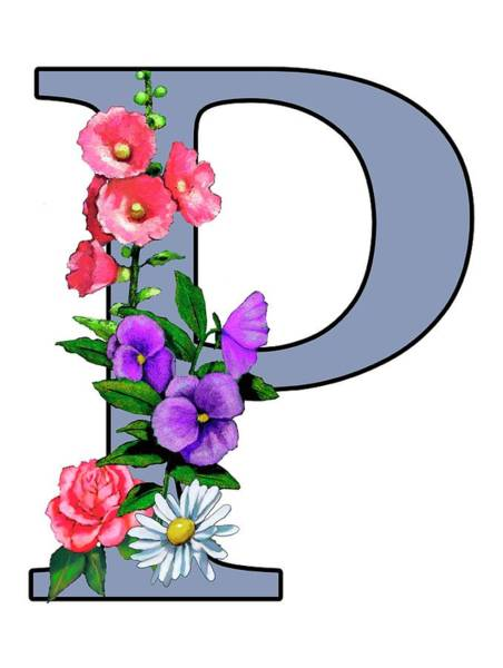 Wall Art - Mixed Media - Letter P With Flowers Initial Monogram by Joyce Geleynse
