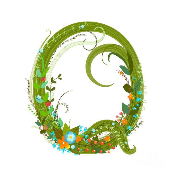 Wall Art - Digital Art - Letter Q Floral Latin Decorative by Popmarleo