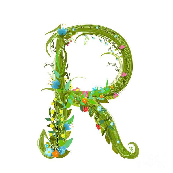 Write Wall Art - Digital Art - Letter R Floral Latin Decorative by Popmarleo