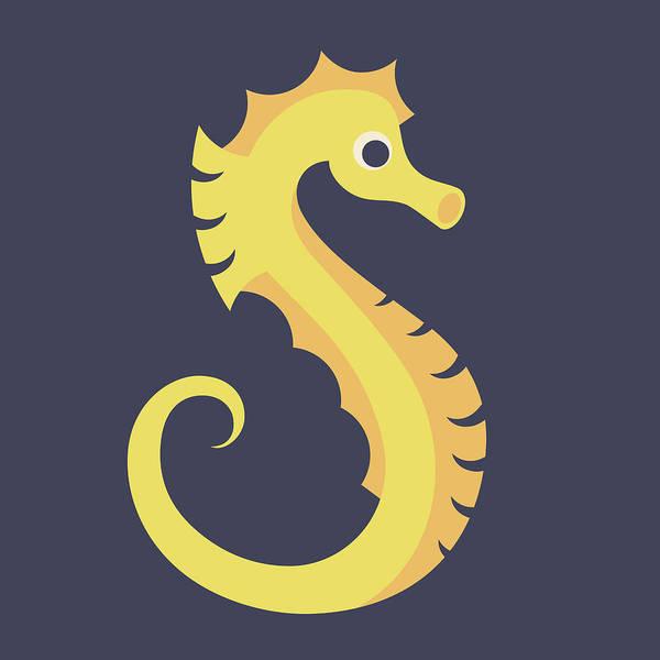 Digital Art - Letter S - Animal Alphabet - Seahorse Monogram by Jen Montgomery