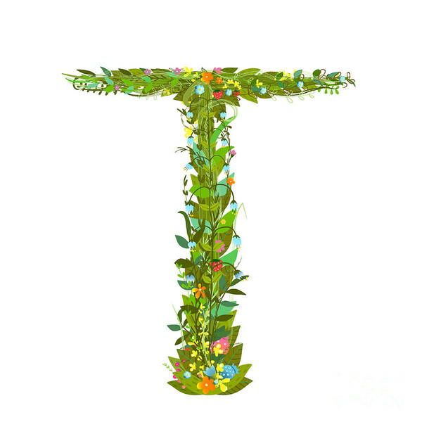 Write Wall Art - Digital Art - Letter T Floral Latin Decorative by Popmarleo
