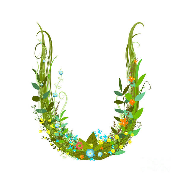 Sophisticated Wall Art - Digital Art - Letter U Floral Latin Decorative by Popmarleo