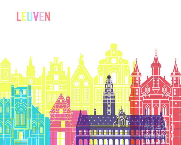 Wall Art - Painting - Leuven Skyline Pop by Pablo Romero