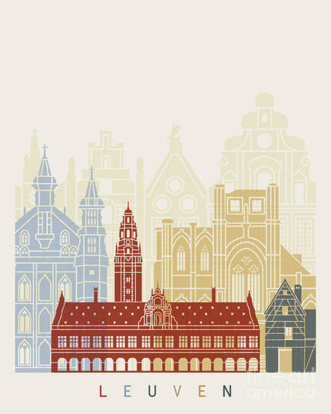 Wall Art - Painting - Leuven Skyline Poster  by Pablo Romero