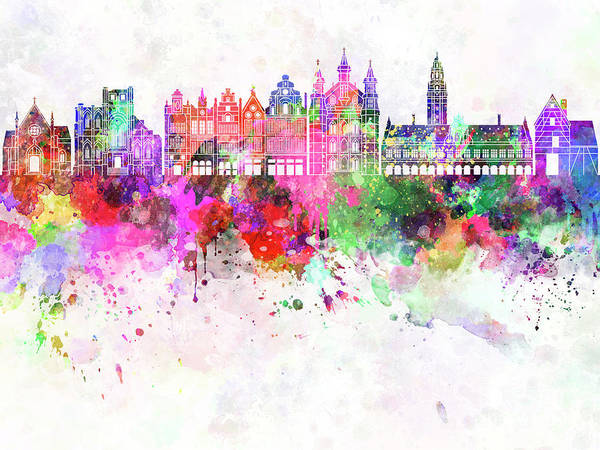 Wall Art - Painting - Leuven Skyline Watercolor Background by Pablo Romero