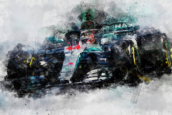 Wall Art - Painting - Lewis Hamilton, Mercedes Amg F1 W09 - 10 by Andrea Mazzocchetti