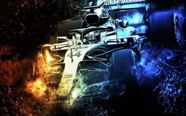 Digital Art - Lewis Hamilton, Mercedes Amg F1 W09 - 11 by Andrea Mazzocchetti