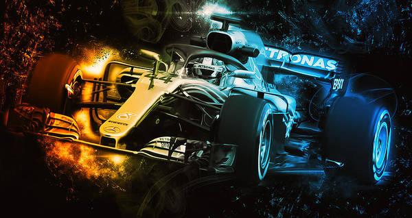 Digital Art - Lewis Hamilton, Mercedes Amg F1 W09 - 12 by Andrea Mazzocchetti