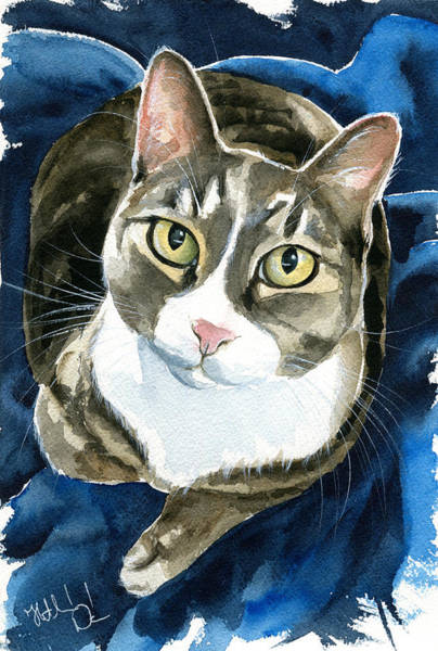 Painting - Lexa Tabby Cat Painting by Dora Hathazi Mendes