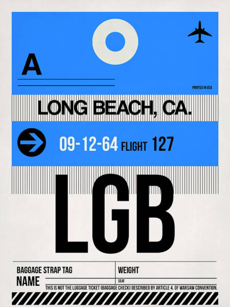 California Beaches Digital Art - Lgb Long Beach Luggage Tag I by Naxart Studio