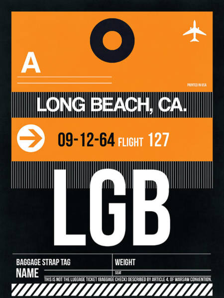 California Beaches Digital Art - Lgb Long Beach Luggage Tag II by Naxart Studio