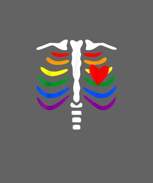 Outfit Digital Art - Lgbt Pride Rib Cage Shirt Funny Gift Family Matching Outfit by Unique Tees