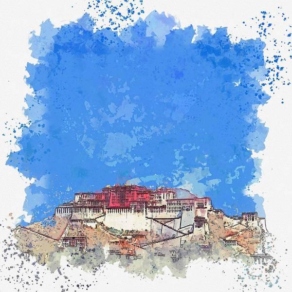 Painting - Lhasa Palace, Tibet, China Watercolor By Ahmet Asar by Ahmet Asar