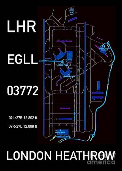Digital Art - Lhr London Heathrow Black Edition by Helge