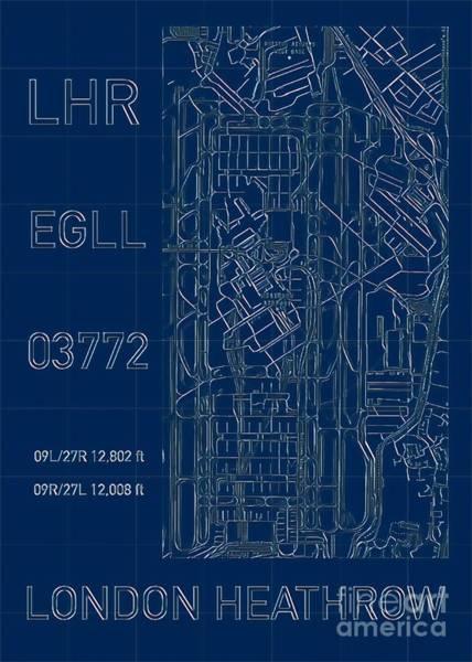 Digital Art - Lhr London Heathrow Blueprint by Helge