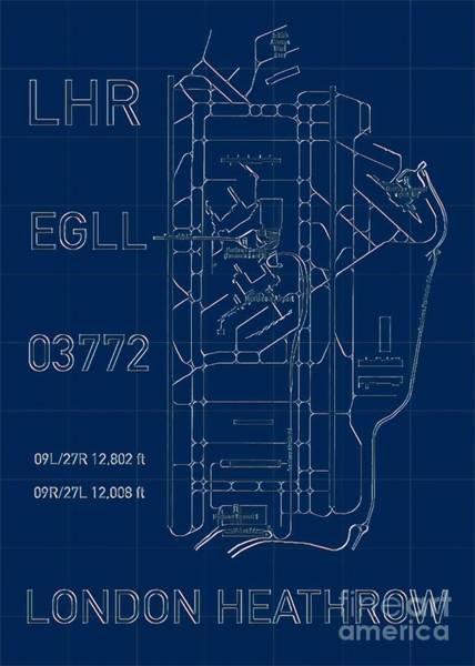 Digital Art - Lhr London Heathrow Blueprint Light by Helge