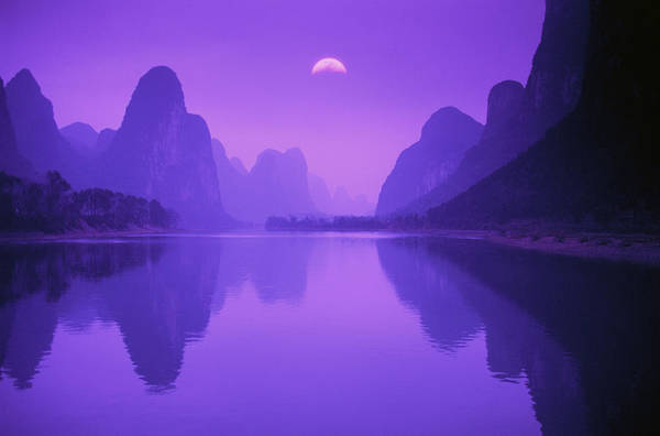 Photograph - Li River & Mountains At Dusk In Guilin by Grant Faint