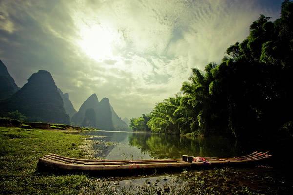 Raft Photograph - Li River Raft by James D Rogers