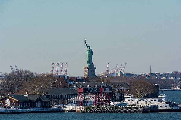 Photograph - Liberty And Governors Island by Mark Hunter