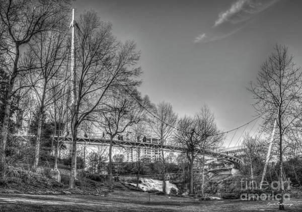Photograph - Liberty Bridge B W Reedy River Falls Park Greenville South Carolina Art by Reid Callaway