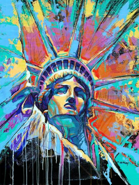 Statue Wall Art - Painting - Liberty In Color by Damon Gray