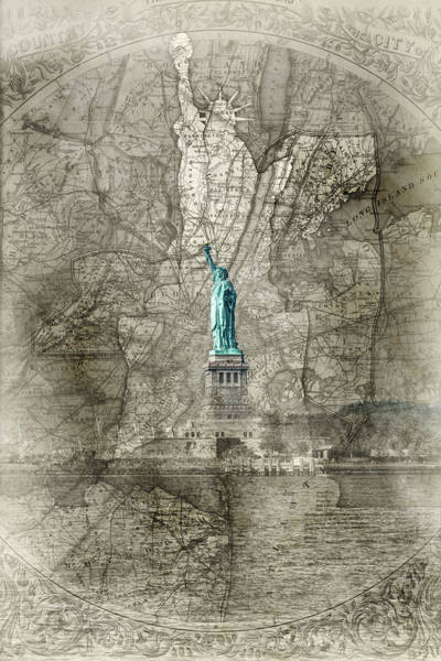 Photograph - Liberty Map Sepia by Sharon Popek