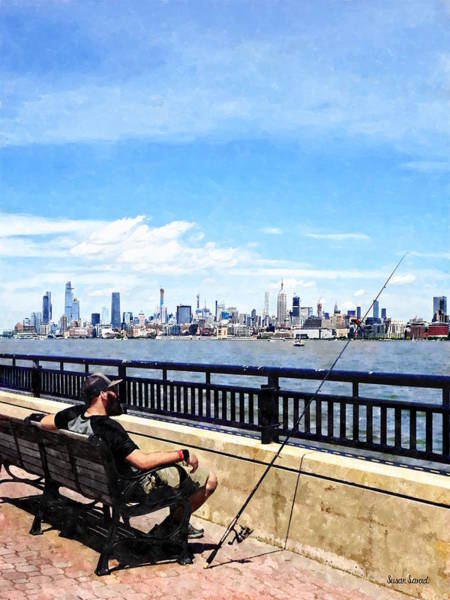 Photograph - Liberty State Park - Man Fishing by Susan Savad