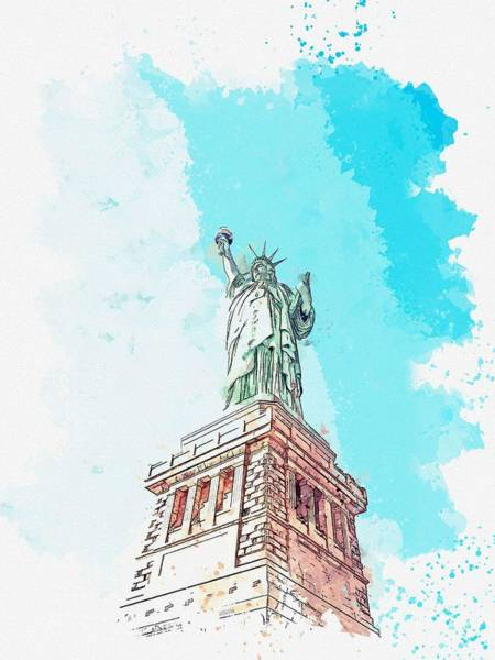 Wall Art - Painting - Liberty -  Watercolor By Ahmet Asar by Celestial Images