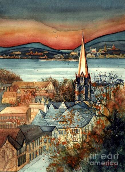 Hudson Valley Wall Art - Painting - Liberty's Light - Newburgh Ny by Janine Riley
