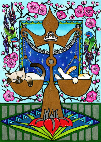 Libra Cat Zodiac Art Print