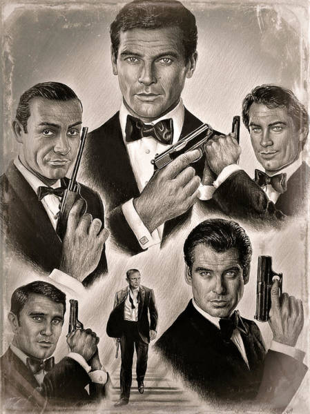 Handsome Drawing - Licence To Kill Sepia Effect by Andrew Read