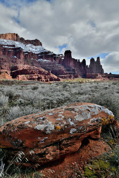 Photograph - Lichen Covered Boulder Near Fisher Towers In Utah by Ray Mathis