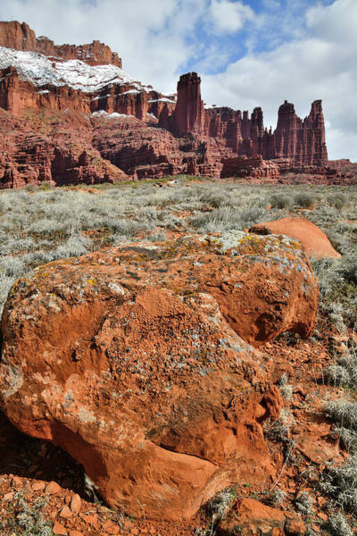 Photograph - Lichen Covered Boulders At Fisher Towers In Utah by Ray Mathis