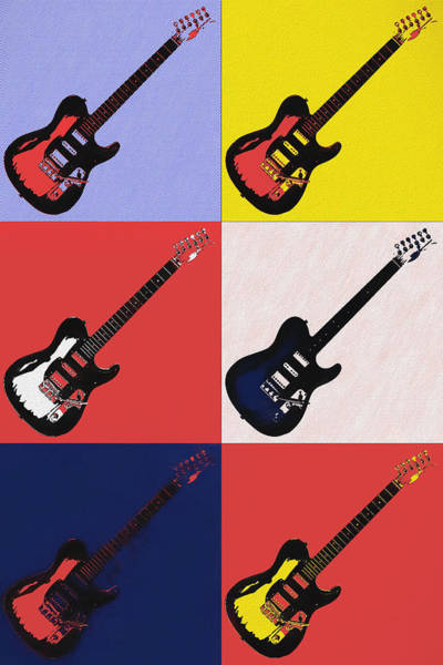 Painting - Lichtenstein Guitars by Dan Sproul