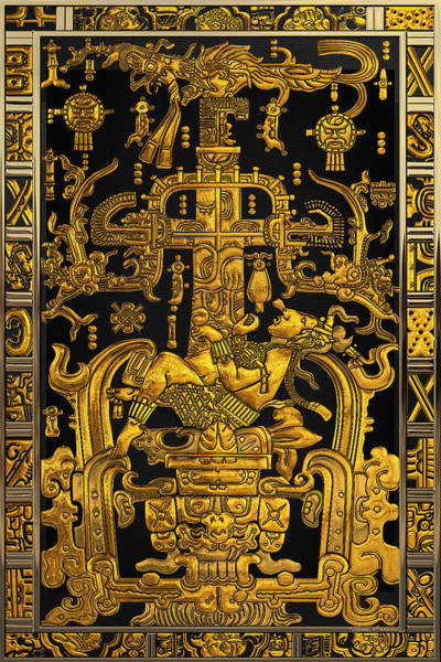 Digital Art - Lid Of The Great Tomb Of Pakal - Gold Palenque Astronaut Over Black No.1 by Serge Averbukh