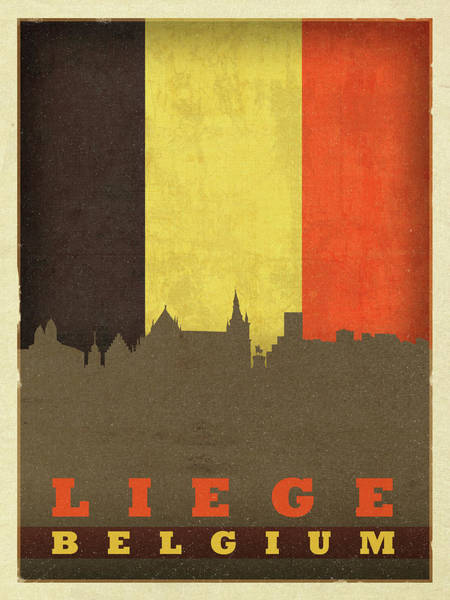 Belgium Mixed Media - Liege Belgium World City Flag Skyline by Design Turnpike