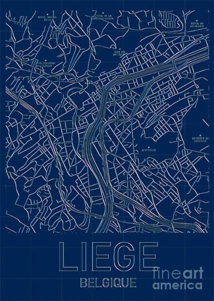 Digital Art - Liege Blueprint City Map by Helge