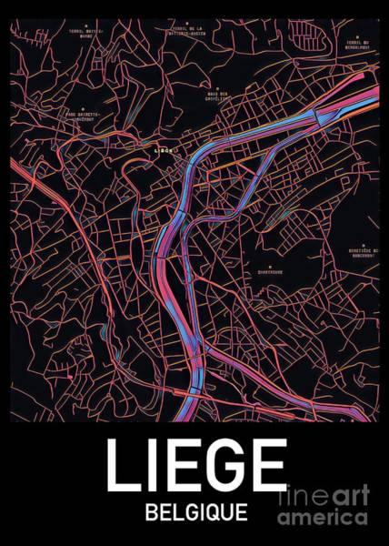 Digital Art - Liege City Map by Helge