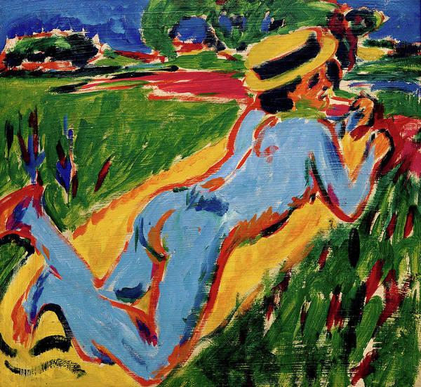Wall Art - Painting - Liegender Blauer Akt Mit Strohhut - Digital Remastered Edition by Ernst Ludwig Kirchner