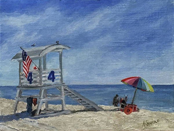 Gulf Shores Alabama Painting - Life Guard Station #4 by Ann Caudle