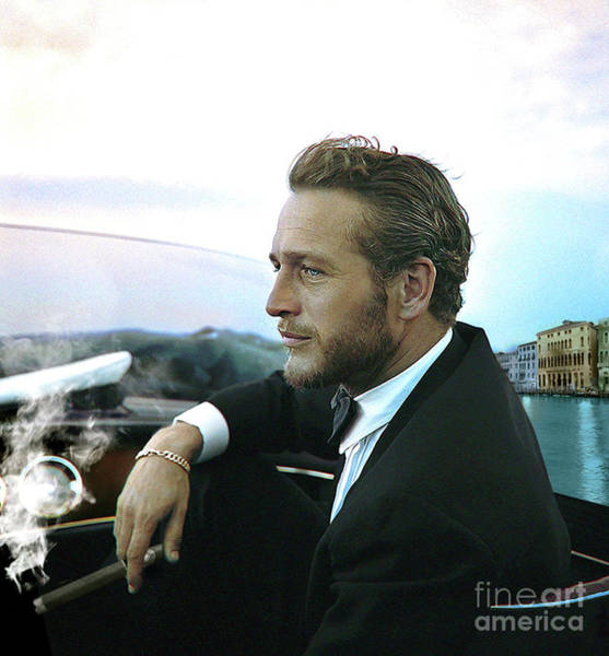Movie Poster Mixed Media - Life Is A Journey, Paul Newman, Movie Star, Cruising Venice, Enjoying A Cuban Cigar by Thomas Pollart