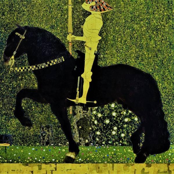 Wall Art - Painting - Life Is A Struggle, Golden Rider - Original Color Edition by Gustav Klimt
