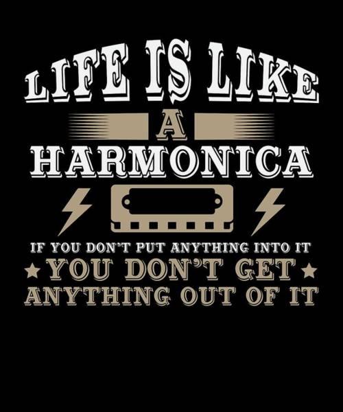 Harp Digital Art - Life Is Like A Harmonica by Passion Loft