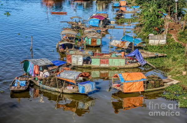 Wall Art - Photograph - Life On Red River Vietnam Homes  by Chuck Kuhn
