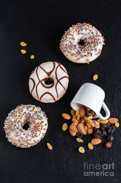 Photograph - Life Style Of  Sweet Donut Natural Nuts And Dried Fruits by Marina Usmanskaya
