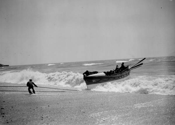 Pulling Photograph - Lifeboat Landing by Fox Photos